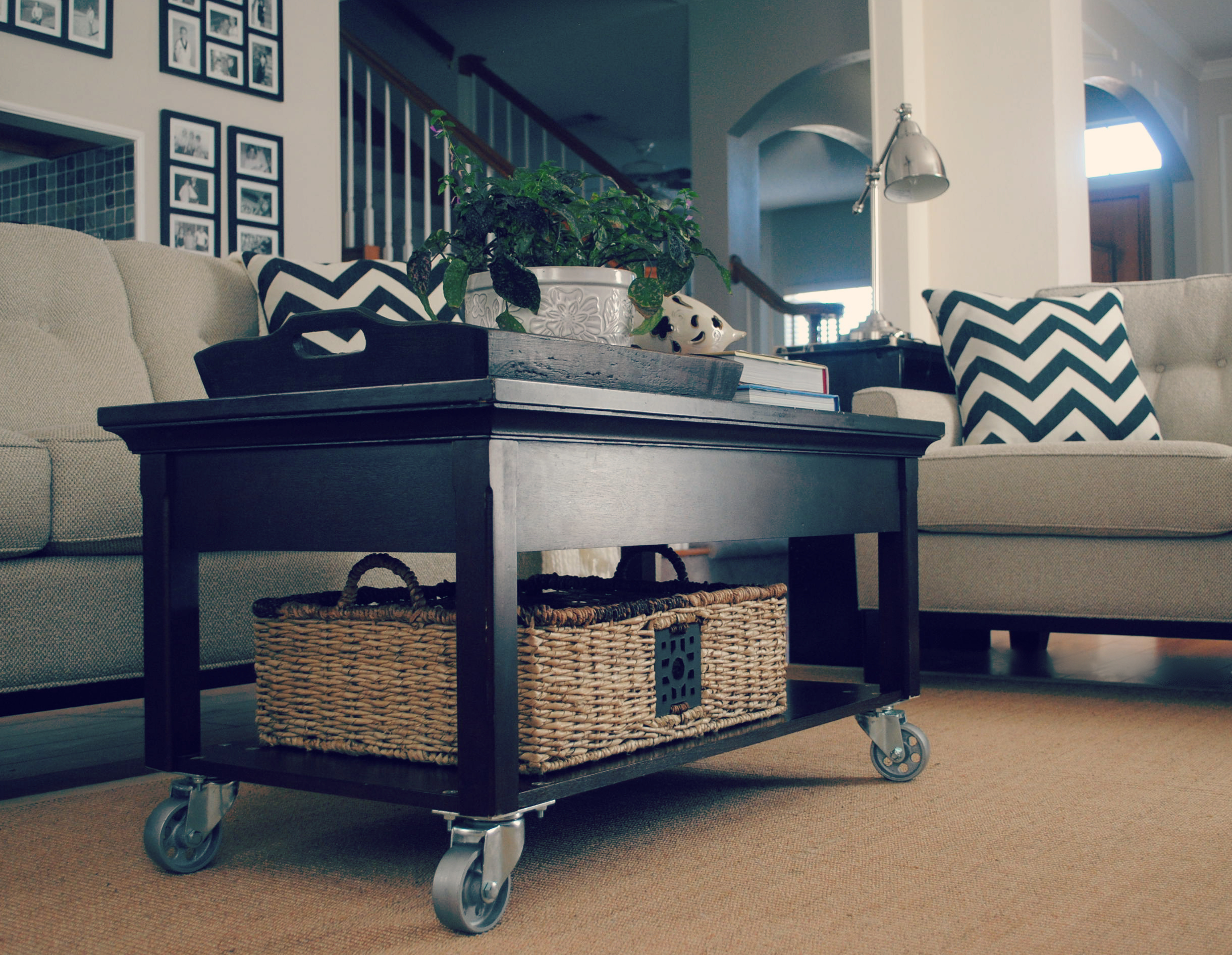 Adding casters to your coffee table