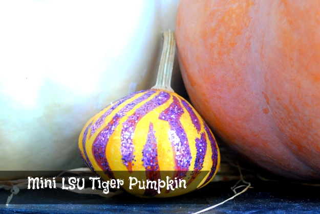 we made this tiny LSU Tiger gourd for Gage!  he's been away at college the last couple of years for pumkin' decorating but we still include one for him. ;)