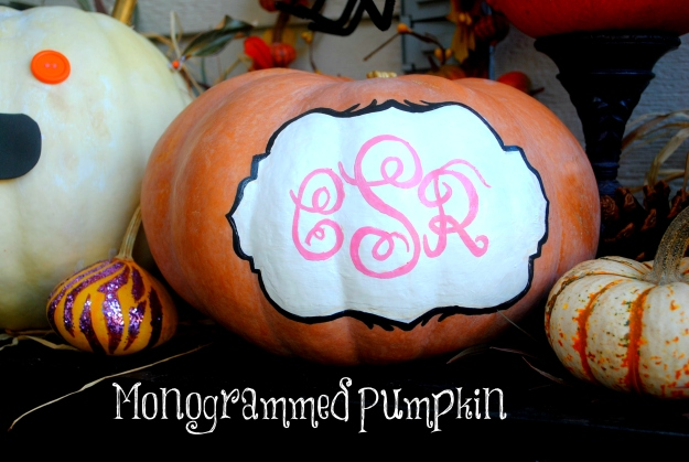 Cady's monogrammed pumpkin.  Sister has some serious artistic skills!