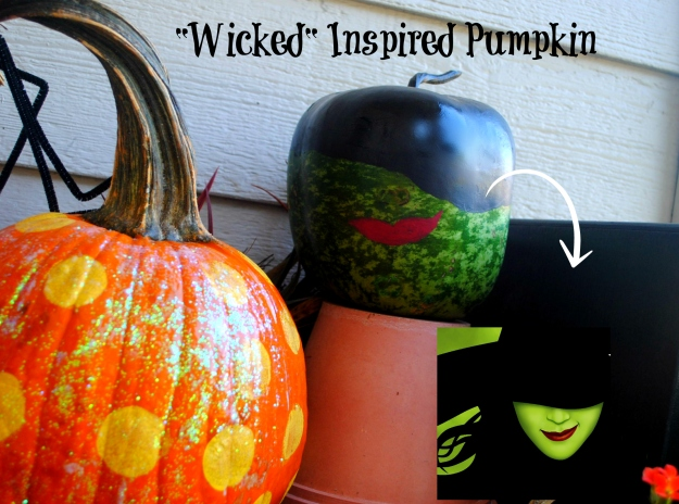 Matt loves Wicked.  His pumpkin was inspired by the theater poster!