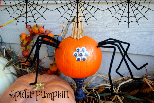 Milo's spider pumpkin.  He helped with eye placement and bending the legs.  He also randomly painted it gold on some spots - he likes to paint. ;)