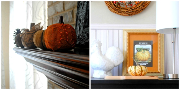 Our mantle has a few cloth pumpkins and out buffet in our buffet in our breakfast area has this vintage framed seed pack and another mini.