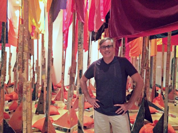 "Matt in the Phyllida Barlow ""tryst"" exhibit.  It's experiential art - you felt like you were in a funhouse with lots of mirrors but you weren't.  Creepy."